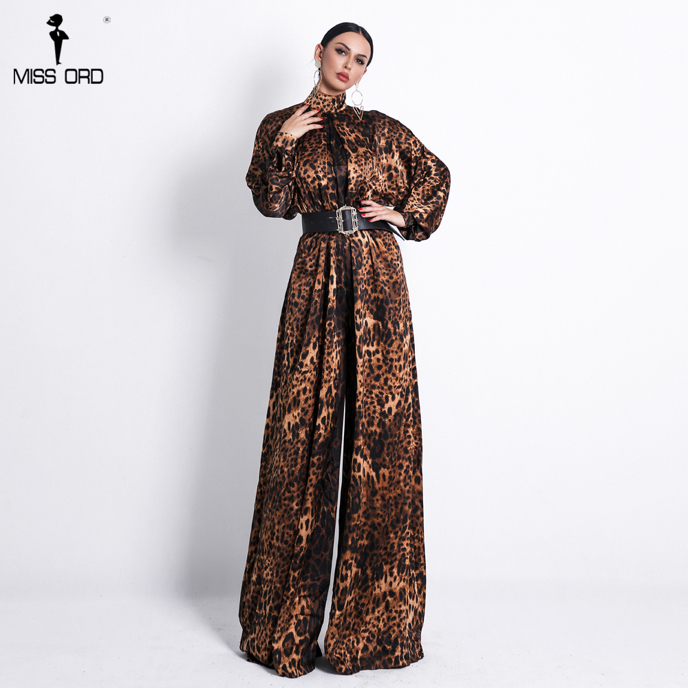 Missord 2020 Sexy  Women High Neck  Long Sleeve Leopard  Jumpsuit No Include Belt  Print  Elegant  Playsuit  FT18600