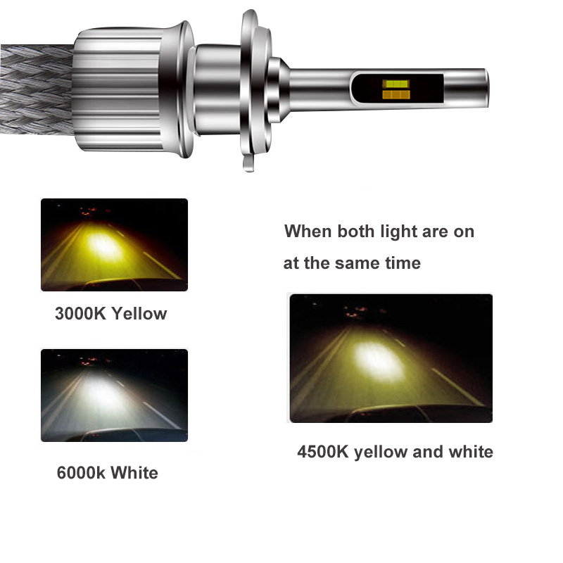 Three-Color Auto Led Light H1 H3 H7 H11 9005 9006 9012 Car Lamp 3000k 6000k 4500k Fog Lights 11000lm 90w Automobiles Headlights
