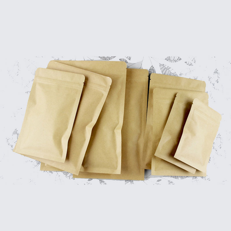 300pcs Flat Brown Gift Bag Paper Kraft Bag Aluminum Foil For Wedding/Candy/Tea Kraft Bags Craft No Stand Up Ziplock Packing Bag