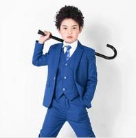 Royal Bule Notch Lapel One Button Formal Kid S Suits Children Clothing Set Formal Boy Suits