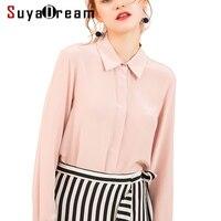 Women Silk Blouse long sleeved 100% REAL SILK CREPE Blouses Solid Basic Button OFFICE Lady SHIRT 2019 WHITE Blusas femininas