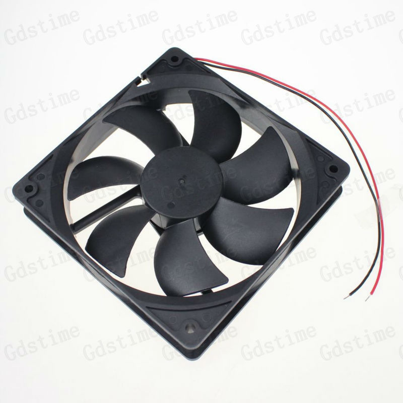 10 Pcs Gdstime 2 Wire 12V 5 inches 120mm x 25mm 120mm 12cm DC Brushless Industrial Cooler Cooling Fan Without Connector gdstime 10 pcs dc 12v 14025 pc case cooling fan 140mm x 25mm 14cm 2 wire 2pin connector computer 140x140x25mm