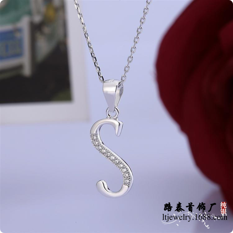 BLAL019 Lady silver necklaces chains with S letter pendants zircon jewelry free shipping