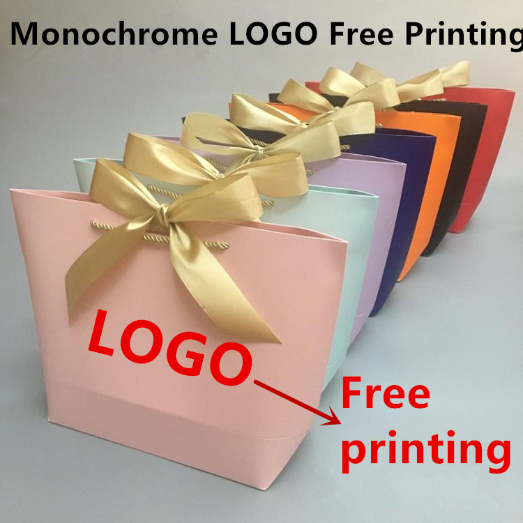 100PCS LOT Monochrome LOGO Free Printing No Money Paper Bag Gift Bag Shopping Bag 10 Color