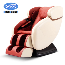 Brown Red Luxury 4D S track heat zero gravity full body electric massage chair shiatsu airbag pressure vibrating rolling
