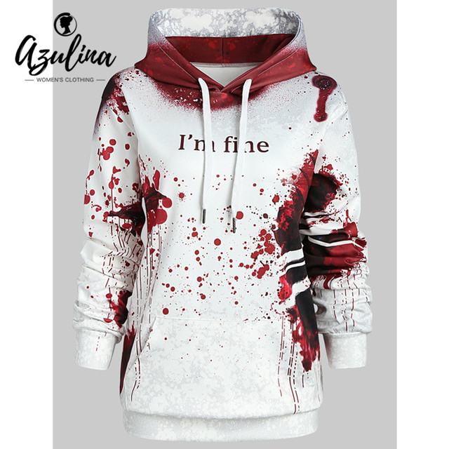 c6007af023c AZULINA Plus Size Halloween Letter Print Theme Hoodie Women Hoodies Fall  Winter Hooded Long Sleeves Sweatshirts Women Outerwear
