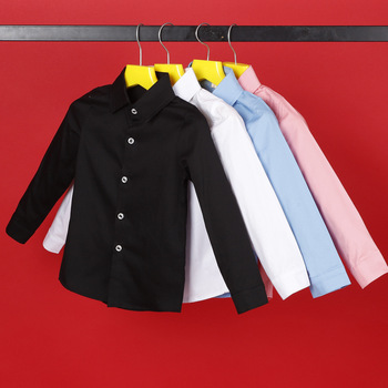 New Boys Solid Casual Shirts Kids Cotton Long Sleeve Shirts Boys Wedding Shirts Spring Autumn Children Formal Dress Shirts F298 фото