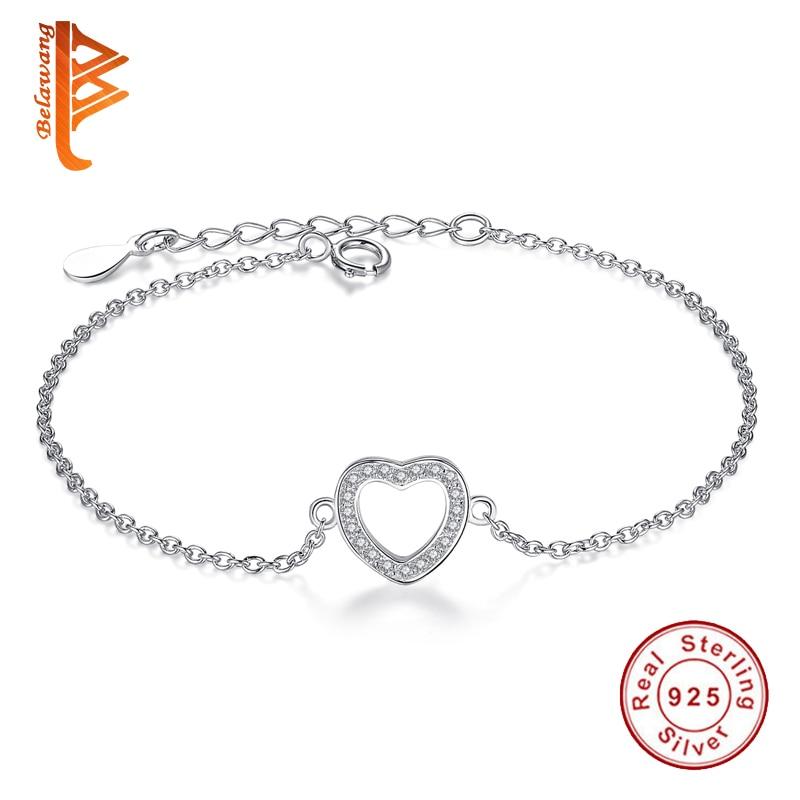 Authentic 925 ստերլինգ արծաթե ձեռնաշղթա զարդեր Crystal Heart ձեռնաշղթա կանանց համար հմայքի ապարանջաններ Pulseiras New ապրանքանիշի զարդեր