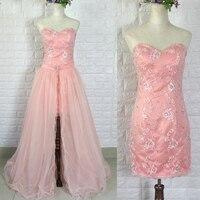 새로운 디자인 높은 낮은 짧은 끈이 퓨어 화이트 웨딩 드레스 신부 드레스 분리 이동식 스커트 크리스탈 레이스 장식 조각