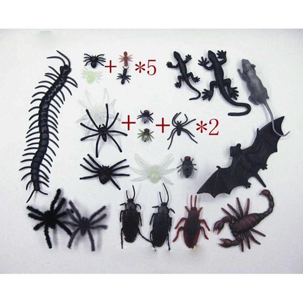 Novelty & Gag Toys Prankish Realistic Insects Reptiles Spider Chilopod Scorpion Bat Toy for Halloween April Fool's Trick Prop