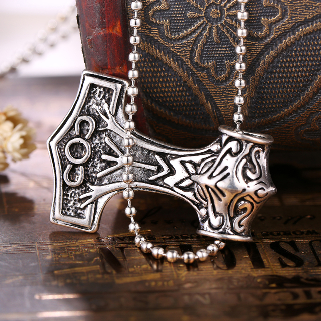 Thor hammer Necklace the dark world Alloy Thor's hammer Norse Magick Mjolnir Men's Pewter Pendant Jewelry for Gift