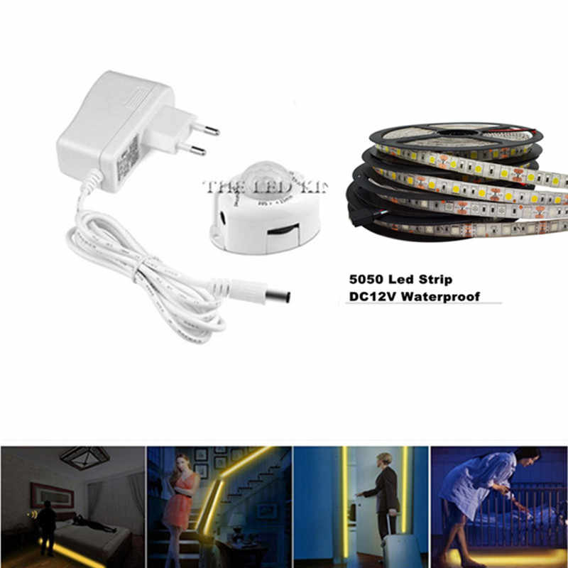 Светодиодная лента для ночного освещения Smart Turn ON OFF fita de LED luz Водонепроницаемая SMD2835 бандо Светодиодная лампа для спальни pir датчик движения светодиодная лента