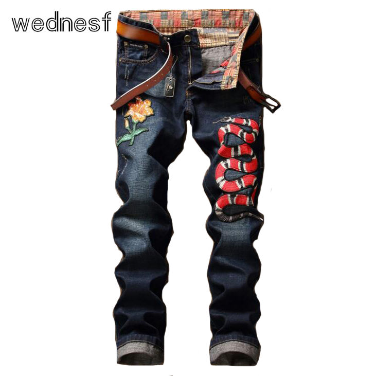 #1914 2017 High quality Embroidery Cobra Straight Motorcycle jeans Skinny Embroidered jeans mens Famous brand Mens biker jeans