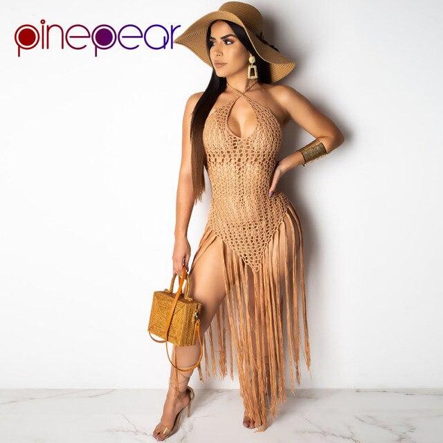 e954f6242ffb PinePear rejilla de ver a través vestido playa cubierta 2019 mujeres Sexy  traje baño desgaste envío la gota