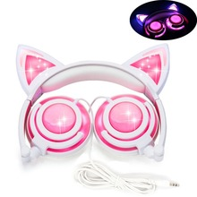 Wired Cat Ear headphones LED Ear headphone cat earphone Flashing Glowing Headset Gaming Earphones for Children For PC Laptop все цены