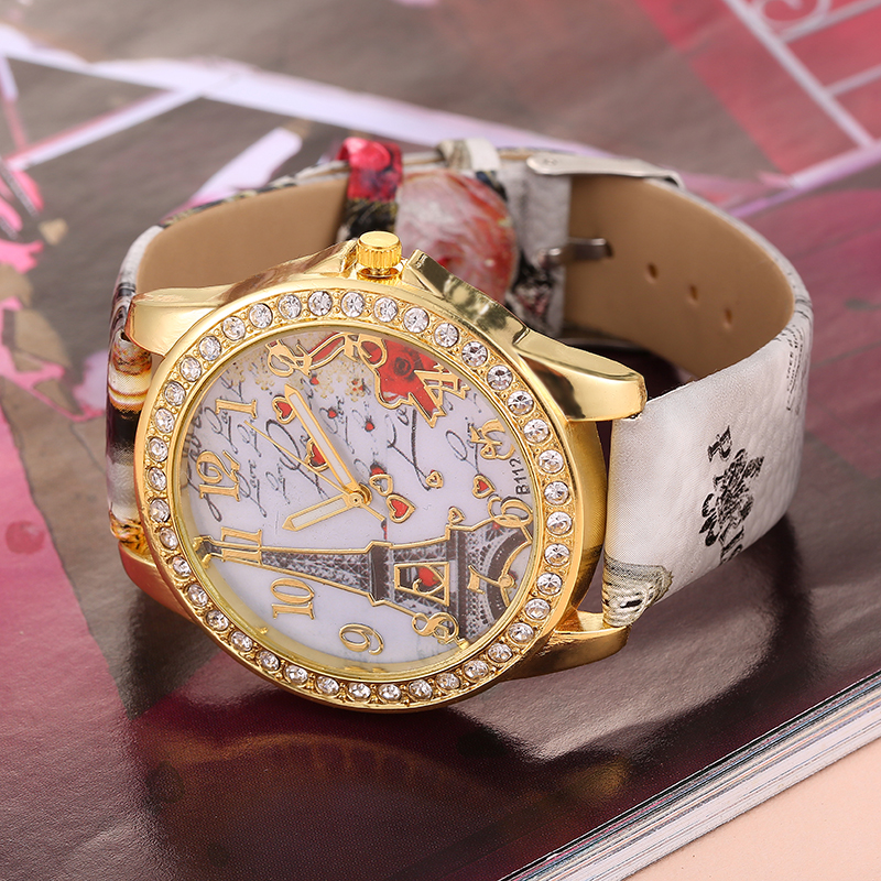 Najlepsza oferta Zegarek kwarcowy Kobiety Moda Wieża wzór Diament - Zegarki damskie - Zdjęcie 4