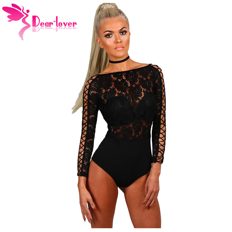 Dear Lover Bodysuit Women Elegant Romper Autumn Black Lace Lattice Long Sleeve Bodycon Playsuit Body Femme Club Jumpsuit LC32092