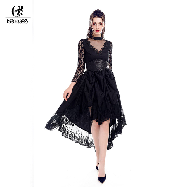 ROLECOS Gothic Asymmetrical Party Dress Women Vintage Black Lace with  Corset Swing Dress Vestidos Female 0e2ef9e9b8