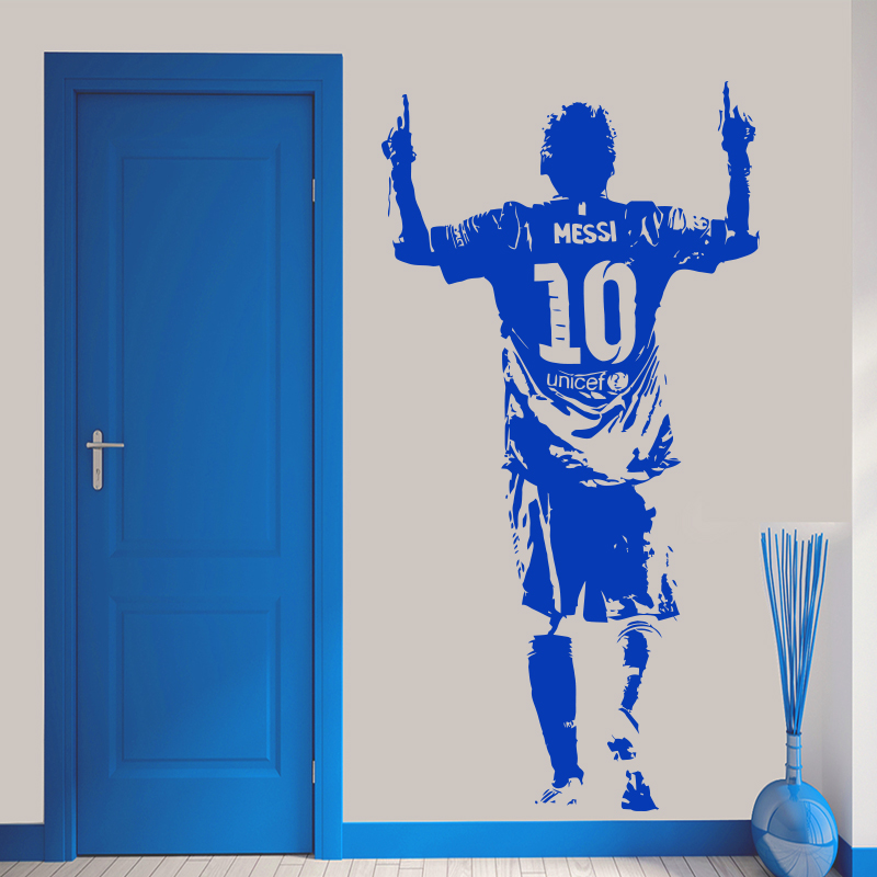 Nieuwe Ontwerp Lionel Messi Figuur Muursticker Vinyl DIY Home Decor Voetbal Ster Decals Voetbal Atleet Voor Kinderkamer 3