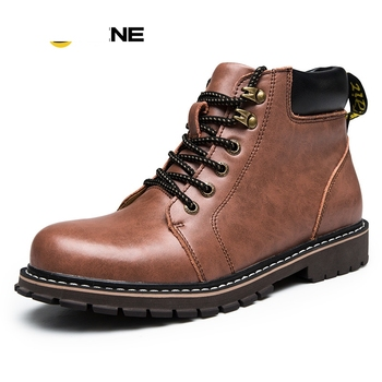Nice Retro Men Work Boots Genuine Leather Fashion Ankle Boots Anti-Odor European Style Martin Boots