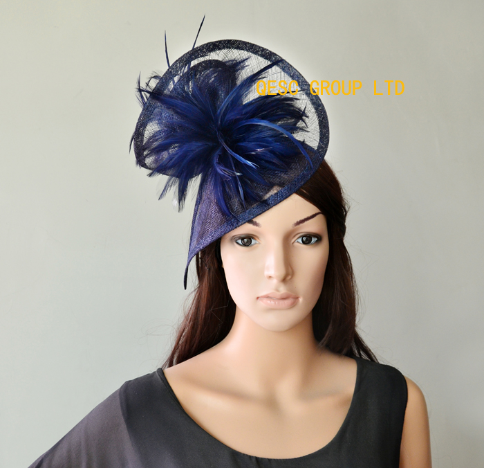 Navy blue Dress bridal Sinamay fascinator hat for Kentucky Derby wedding races party church