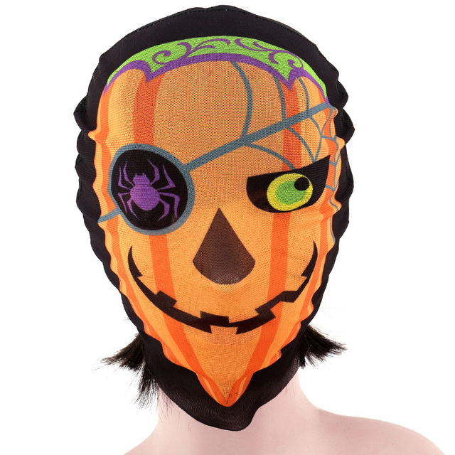 Full Face Horror Pirate Pumpkin Skull Mask