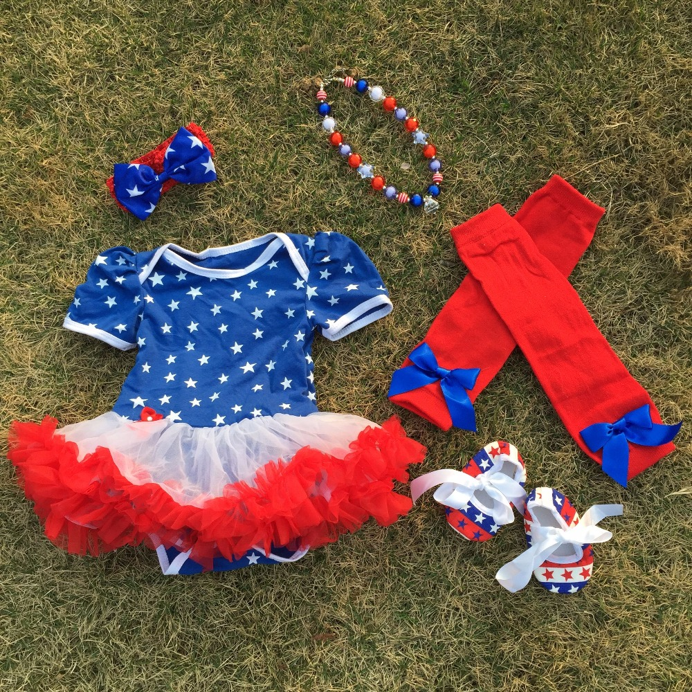 2016 Top Sale baby Kids July 4th romper pettidress Patriotic petticoat with matching necklace and hair bow and leggings set
