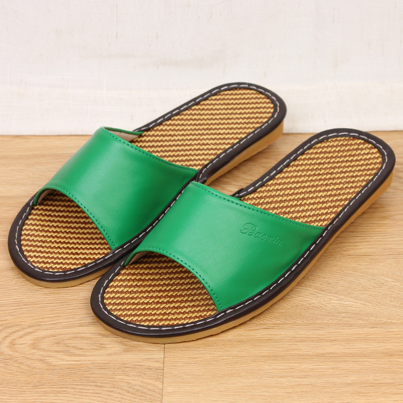 e7def7b10883 KESMALL Sale Natural Bamboo Rattan Home Slippers Summer New Linen Cane Grass  Weave Women Flat Slippers Home Shoes S1-in Slippers from Shoes on ...