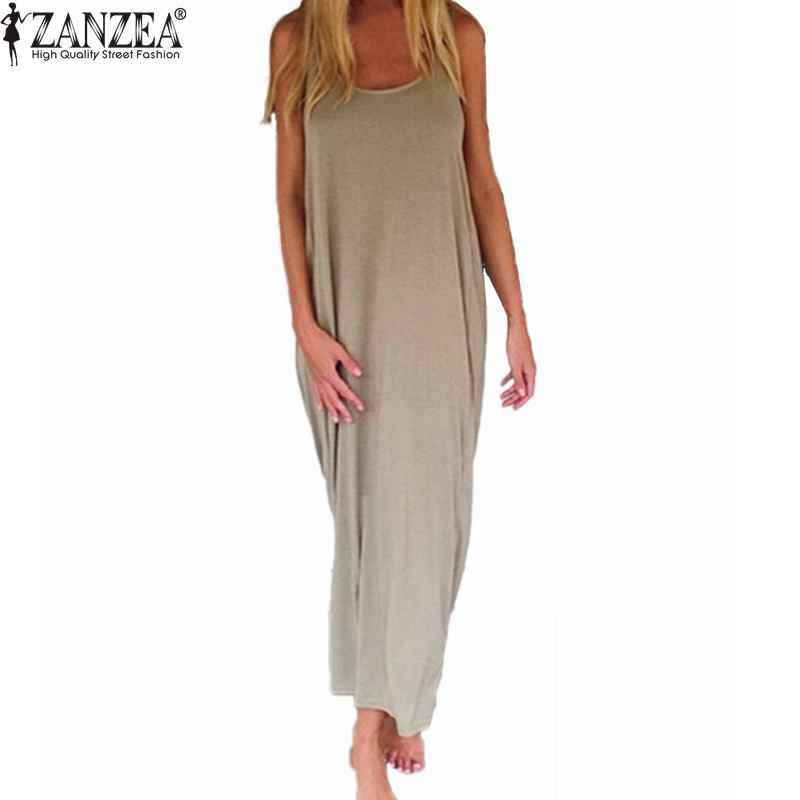 Zanzea Brand Vestidos 2018 Kvinder Mode Casual Loose Solid Kjole Ermeløs Backless Long Maxi Beach Kjoler Plus Size