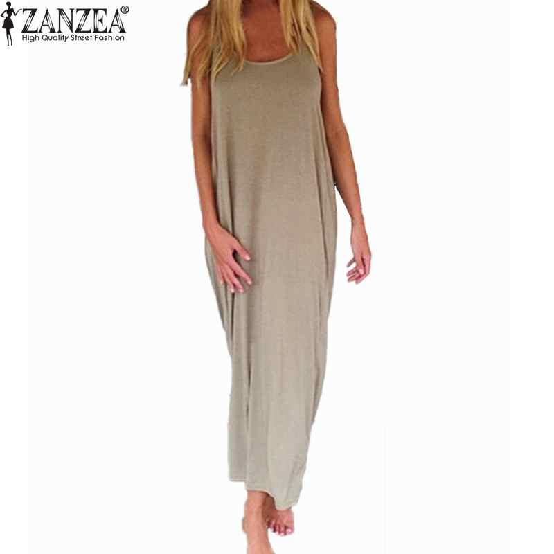 Kleider FleißIg Zanzea Marke Vestidos 2019 Frauen Mode Beiläufige Lose Solide Kleid Sleeveless Backless Lange Maxi Strand Kleider Plus Größe Mild And Mellow