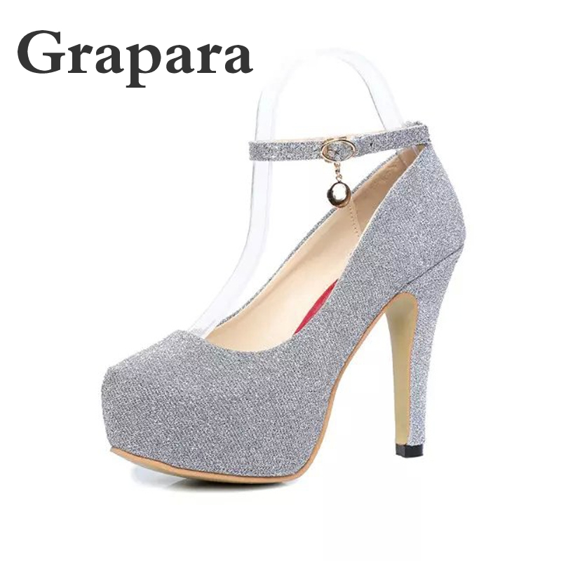 Fashion Women Pumps Sexy High Heels Wedding Party Prom Evening Ankle Strap  Shoes Stiletto Heel Platform bd33221e6254