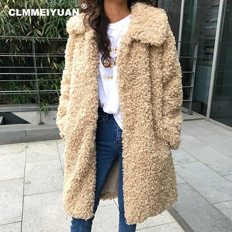 Turn Down Collar Long Faux Fur Coats Women Winter Imitation Lamb Fur Overcoat Outerwear Fashion Oversized
