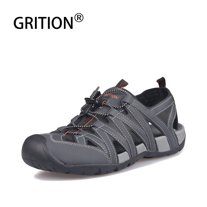GRITION Sandals Men Outdoor Summer Causal Ankle Strap Flat Beach Sandalias Breathable Soft Closed Toe Walking