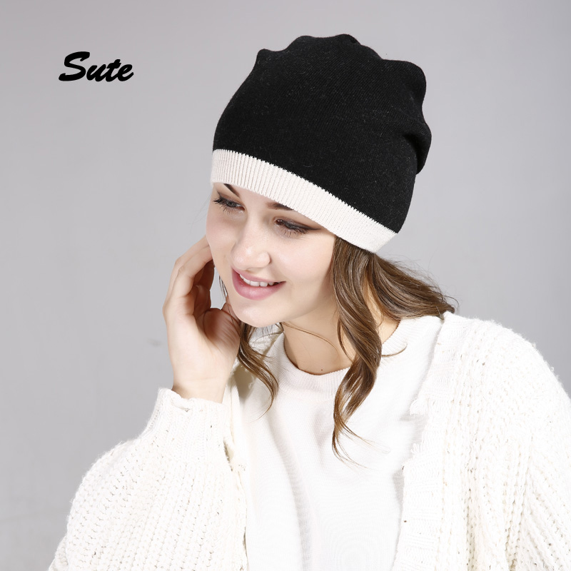SUTE Autumn winter beanies hat unisex knitted wool Skullies casual cap with real solid colors ski gorros cap Women's caps M-325 the new children s cubs hat qiu dong with cartoon animals knitting wool cap and pile