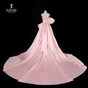 Image 4 - Chérie rose a ligne robe de soirée sans manches avec grand arc balayage Train Satin bretelles robe de bal robe de soirée 2019