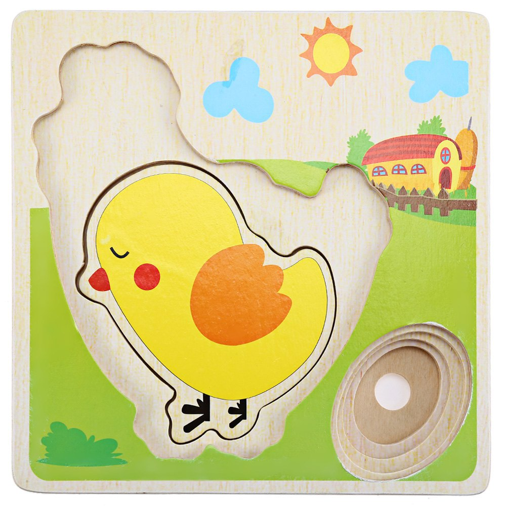 HOT Selling Mulit Layer Chicken Hen Growing Up Cartoon Children Kids Wooden Puzzles Panel Process Early Emulational Eggs Toys