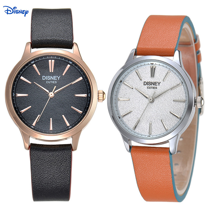 100% Original Disney Women Dress Watches Men Luxury Brand Watches Fashion Casual Lover Couple Multi-Color Leather Strap Relogio