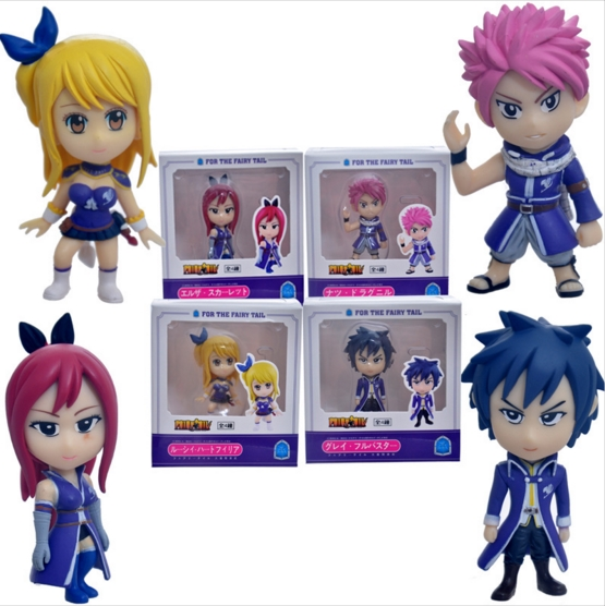 4pcs Lot Anime Fairy Tail Action Figure Toys Natsu Lucy Elza Gray PVC Collection