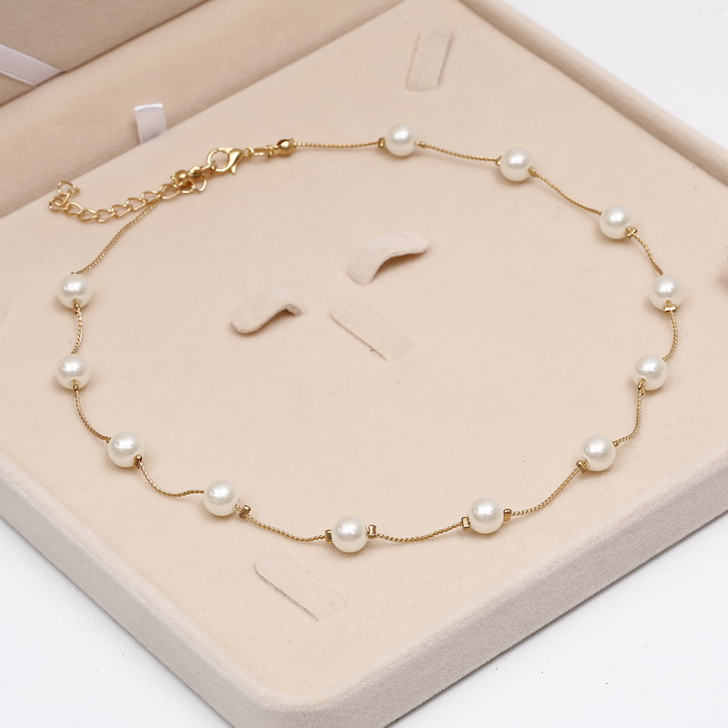 2019 Simulated Pearl Necklace Top Quality Anti-Allergy Wholesale Gold Color Statement Necklace Chain, Wholesale Beaded Jewelry,