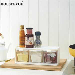 Image 2 - Spice Rack 3 Grids Spoon Kitchen With Lid Container Seasoning Box Herb Spices Storage Condiment Jar Cooking With Handle Desktop