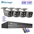 Techage H.265 8CH 5MP POE NVR система видеонаблюдения двухсторонняя аудио 5MP AI ip-камера Открытый IP66 водонепроницаемый комплект видеонаблюдения