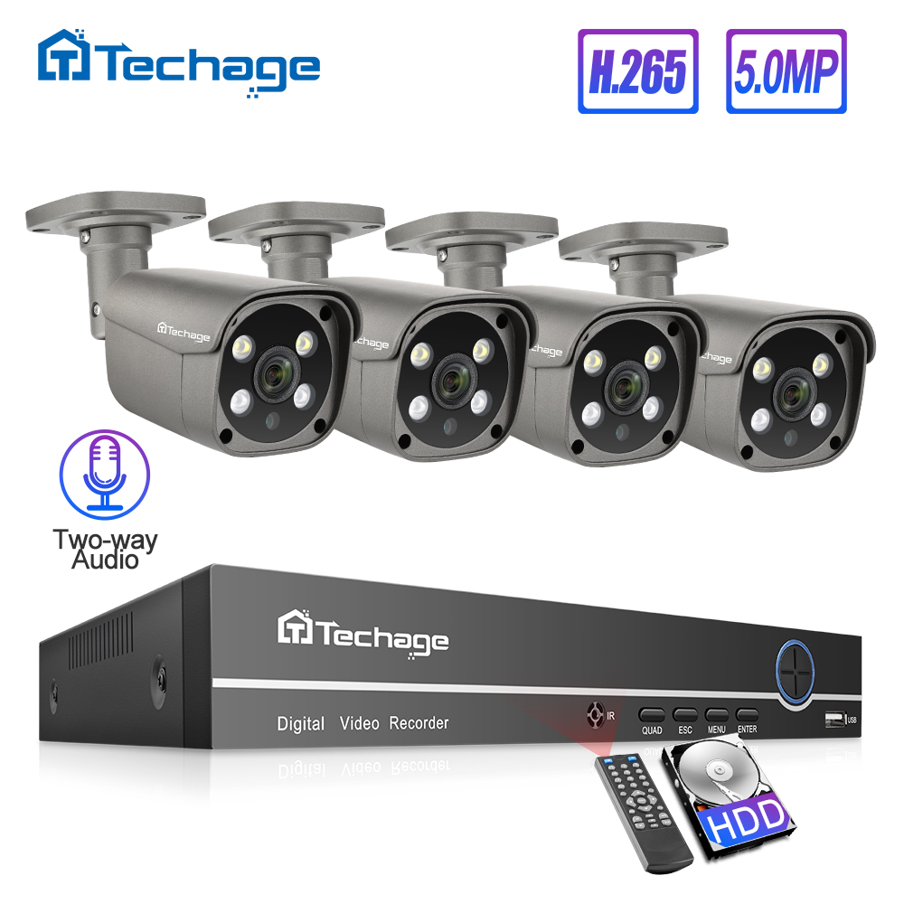 Techage H.265 8CH 5MP POE Sistema NVR CCTV Two-way Audio 5MP AI IP66 IP Ao Ar Livre Câmera de Vídeo À Prova D' Água kit de Vigilância de segurança