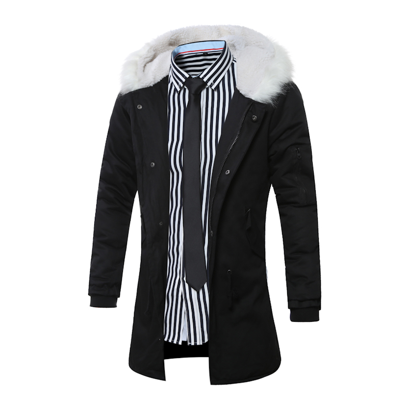 Hot Winter jacket men Thick warm long section white fur collar hooded parka 2017 new high quality windproof cotton jacket coat
