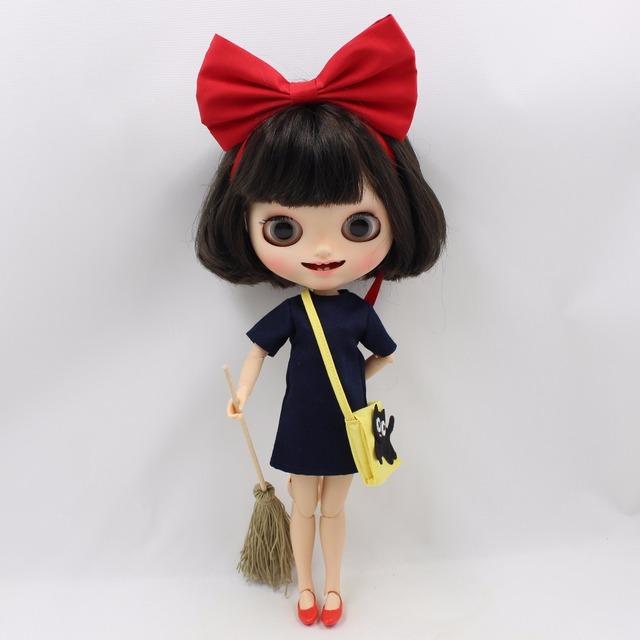 Neo Blythe Doll Kiki Dress Yellow Bag & Red Bow Shoes