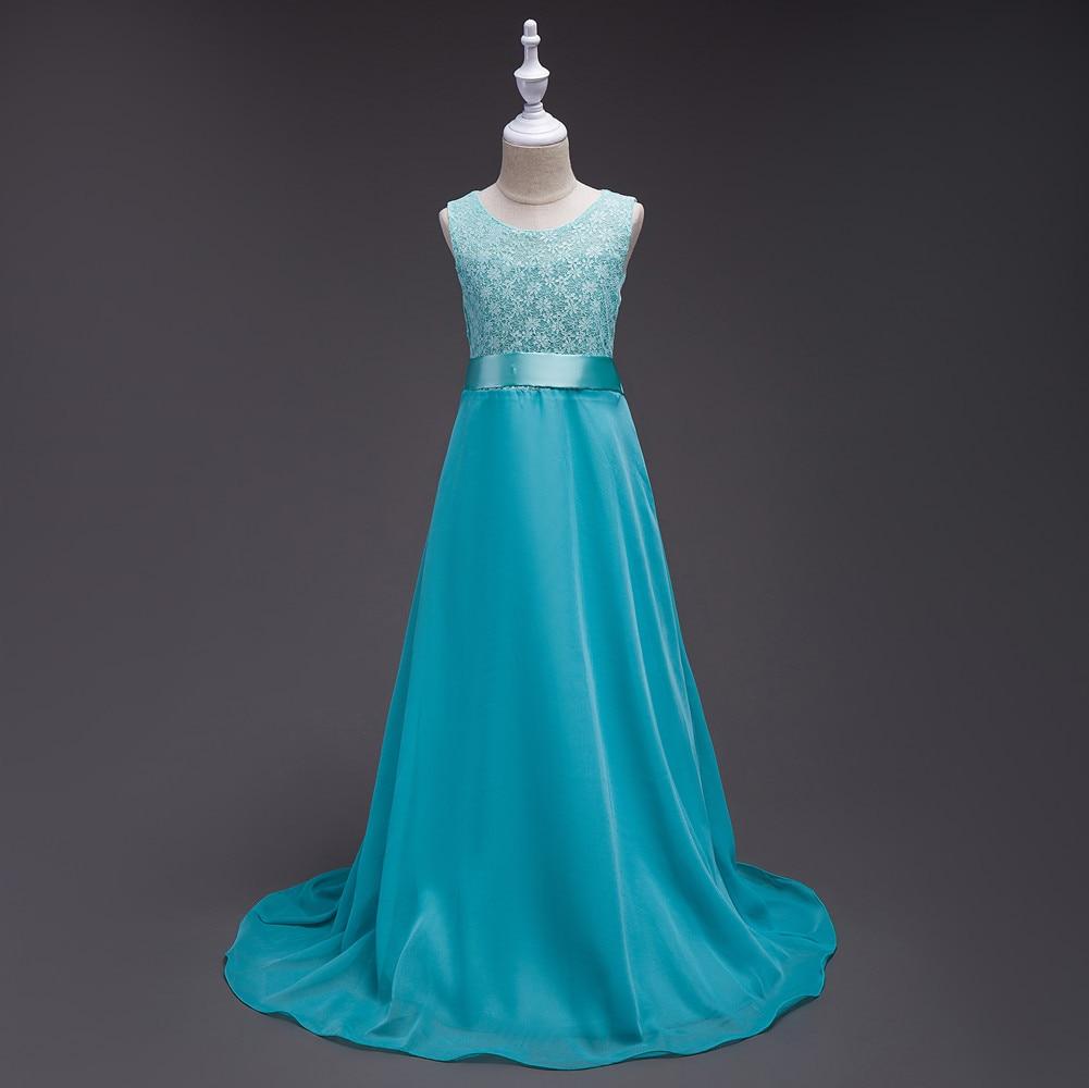Girl Chiffon Long Dresses Girl Lace Princess Tube Top Dresses Flower Girl Dresses
