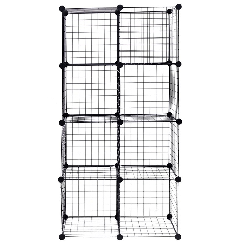 DIY 8 Cube Grid Flexible Wire Cube Shelves Floor Type Home Storage Holders Household Organization HW56102