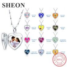 купить SHEON 925 Silver Necklace Twelve constellations& Birthstone Heart Photo Locket Personalized Engraved Photo Jewelry For your Love по цене 2072.94 рублей