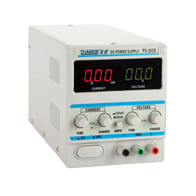 DC Regulated Linear Adjustable Power Meter PS202D 20V2A Digital Display mA 0.1V 0.01A rps3020d 2 digital dc power adjustable power 30v 20a power supply linear power notebook maintenance