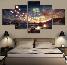 HD Print Landscape Painting Anime Modern Canvas Wall Art 5 Piece For Living Room Artwork