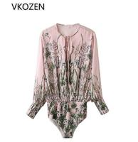 New 2016 Fashion Women Long Sleeve Bodysuits Casual Ladies Print Pink Bodysuit Overalls